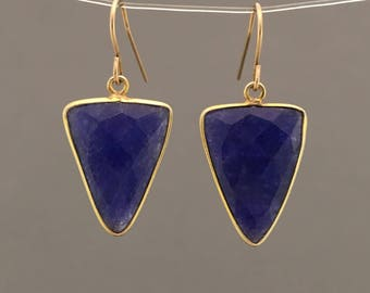 Gold Triangle Sapphire Earrings