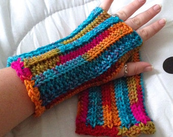 Rainbow Fingerless Gloves - Rainbow Wristwarmers - Rainbow Wrist Warmers - Rainbow Gauntlets - Rainbow Arm Warmers - Cosplay Gauntlets