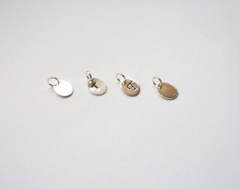 Small Personalized Metal Jewelry Tag - Miniature Oval in Silver Tones