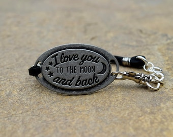 I Love You to the Moon and Back Leather Bracelet