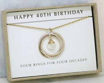 40th birthday gift, June birthstone necklace 40th, moonstone necklace for 40th birthday - Lilia