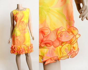 Vintage 1960s Dress - Krist Neon Yellow & Orange Floral Tropical Tiki Shift Wiggle Dress with Ruffle Hem - Hawaiian Style - Small