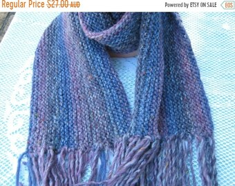 ON SALE Shadow Tweed Wool Scarf Hand Knitted in Purple and Blue Shades.