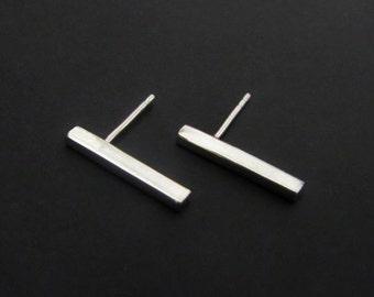Bar Stud Earrings, Sterling Silver Earrings, Studs, Jewelry, Gift