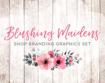 Rustic Shabby Chic Shop Branding Banners, Avatar Icons, Business Card, Logo Label + More - 13 Premade Graphics Files - BLUSHING MAIDENS
