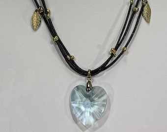Sky Blue Heart Pendent with Leather Cord
