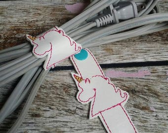 Unicorn cord keeper, set if 2, cable ties, cord organization, cord organizers, unicorns, desk organization