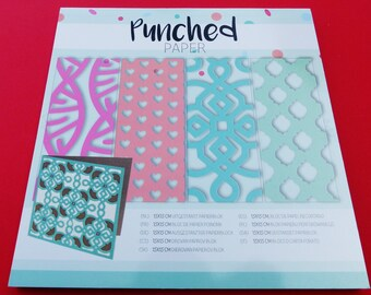 perforated paper punched paper 24 sheets 4 motifs designs cute cardmaking scrapbooking 15 x 15 cm Green Pink Blue