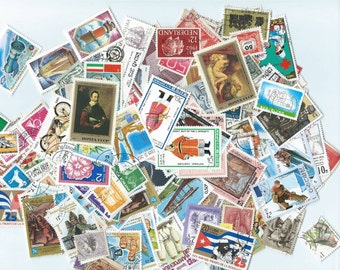 300 Postage Stamps - Scrapbooking, collage, altered art