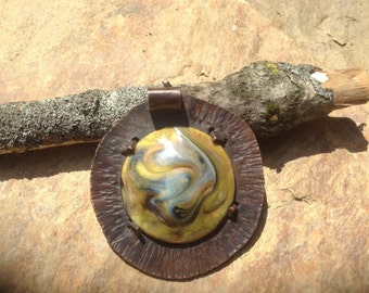 Copper enamel,pendant ,torch fired,necklace,handmade