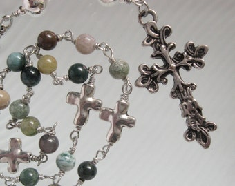 Anglican Rosary, Episcopal Rosary, s, Celtic Cross, Natural Jasper Stones, Religious Gift, Handmade, Unbreakable Rosary, Protestant Rosary