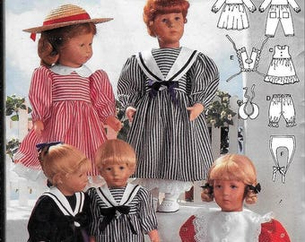 """Burda 4061 Doll Clothes Pattern Middy Sailor Dress Pinafore Bloomers Size 12""""-22"""" Boy Or Girl Dolls UNCUT"""