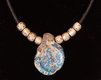 One of a kind...leather Necklace with Ancient Roman Glass Pendant and TibetIan silver beads