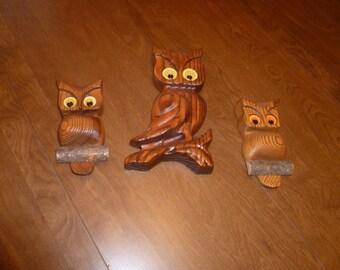 Three Cute Wooden Owls