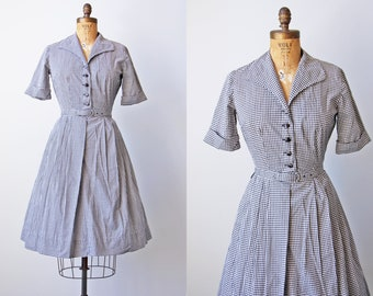 1950s Dress - Vintage 50s Dress - Black White Gingham Plaid Cotton Shirtwaist Dress Size XS to S