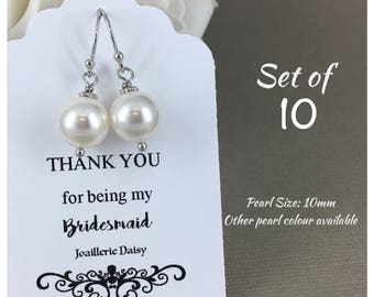 Set of 10 Bridesmaid Earrings Jewlery Gift for Bridesmaid Gift Mother of the Bride Gift Mother of Groom Gift Bridal Jewelry
