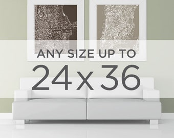 """24x36"""" Cityscape Map Poster: Choose your City"""
