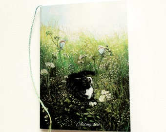 Small Notepad, drawings, notebook with picture on the cover of a cat in the garden