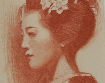"Portrait of Tomitae - original drawing on 8"" x 10"" toned paper - Japanese Geisha Art"