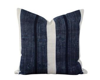 Hmong Pillow - Indigo Dye - Bohemian Home Decor - Blue Cushion Cover - Modern Farmhouse