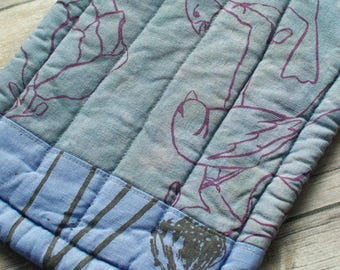 muted blue linen mini quilt long hot pad hand dyed and printed with birds and flowers and a striped linen back