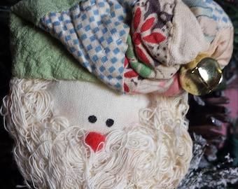 Stuffed santas, angel, vintage quilt, ornaments/ pins
