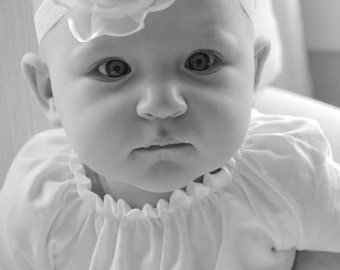 Baby baptism flower headband in antique ivory or pure white Lilla's Lace