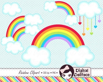 Double Rainbow Clipart, Cloud Clip Art, Digital Scrapbook, Printables, Graphics