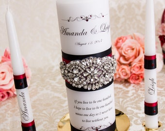 Red and Black Unity Candle Set Personalized Wedding Unity Candles Wedding Candle Rhinestone Unity Candle in Red Black