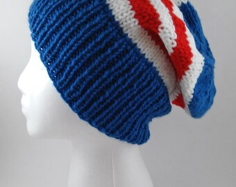 Captain America Knit Slouchy Beanie - MADE TO ORDER