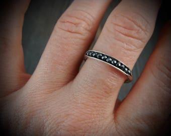 petite hematite sterling stack ring