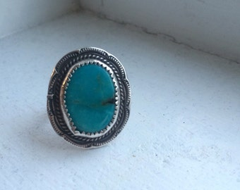 Turqouise Ring, Sterling Silver Size 8