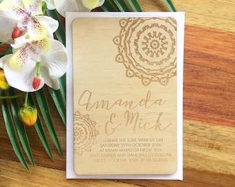 Wood Wedding invitation, mendala design.  Laser Etched Wooden Invitation. A6 size
