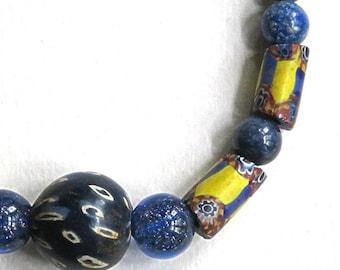 "ANTIQUE AFRICAN TRADE beads,Indonesia Jatim,Venetian Murano sparkle glass,lapis lazuli ,17 1/2"" necklace,rust,navy,sky blue,yellow,beige"