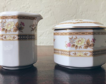 Mikasa Antoinette Sugar Bowl and Creamer Set