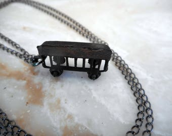 Chattanooga. Miniature Die Cast Train Cars on Necklaces. Choice of : Copper, Silver-green or Black. Upcycled Cracker Jack Prizes