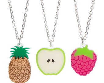 Mini Fruit necklace - laser cut acrylic perspex wood pineapple apple slice raspberry tropical 5 a day