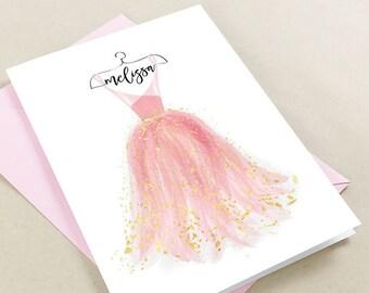 Will you be my bridesmaid card, bridesmaid proposal card, Bridesmaid Name, Maid of Honor Card, Flower girl, 5x7, Pink, Blush, Rose, Gold