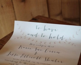 "8.5""x11"" Wedding Certificate"