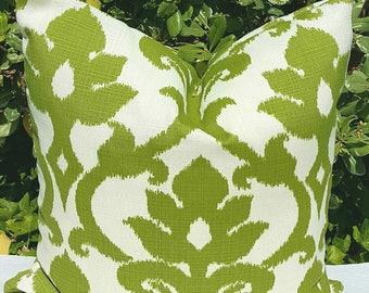 IKAT Richloom Solarium Basalto Kiwi Green Ivory Decorative Outdoor Pillow Cover 16x16 18x18 20x20 22x22 16x12,18x12 more sizes with Zipper
