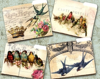 DIGITAL Download Birdy Mini File Folders Birds Roses Florals French Script Scrapbooking Paper Crafts
