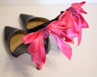 ON SALE - 38 instead of 42 - hot pink  Bow Shoes clips with  rhinestones