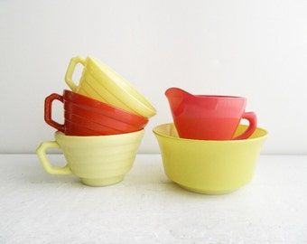 Vintage Hazel Atlas Glass Collection - Pink Creamer, Yellow & Rust Red Cups, Cereal Bowl