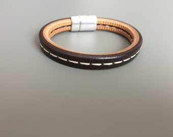 Men's Brown Stitched Leather Bracelet - Brown Licorice Leather Bracelet - Leather Bracelet - Thick Brown Leather Bracelet - Gifts for Dad