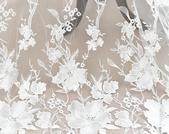 Floral Embroidery Wedding Lace Fabric ,DIY Lace Fabric