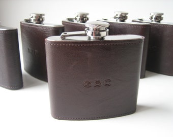 Embossed Leather Covered Flask