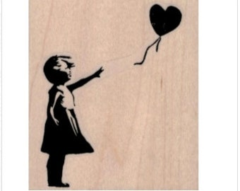 Rubber stamp Banksy Girl with heart balloon  stamping graffiti outsider art play  craft supplies number 19430