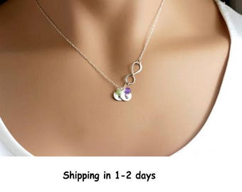 Mothers day gift Grandma Necklace Mothers Custom birthstone necklace Personalized Infinity with discs Sterling Silver Gold family necklace