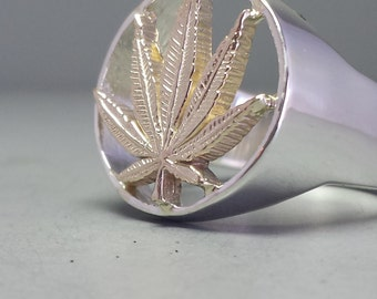 Sterling Silver And 14K Yellow Gold Pot Leaf Weed Ring