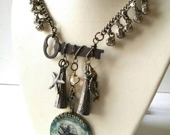 Altered Art Starfish Necklace